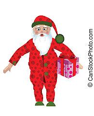 Santa in pajamas