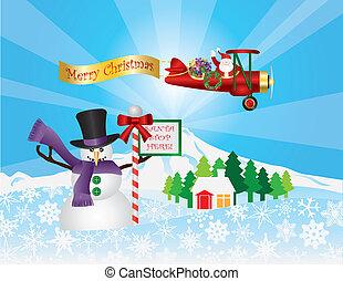 Santa in Plane Flying Over Snow Scene