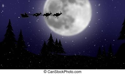 Santa in sleigh with reindeer flying over moon with trees . Silhouette