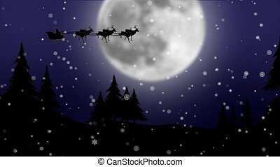 Santa in sleigh with sleigh flying over moon with trees . Silhouette
