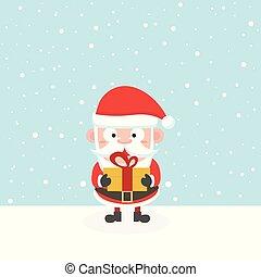 Santa in snow.