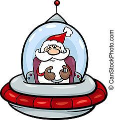santa in spaceship cartoon illustration - Cartoon...