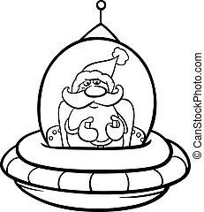 santa in spaceship coloring page