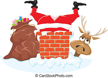 Santa in the chimney and reindeer - Santa Claus with a hole...