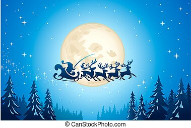 Santa in the Christmas Moon Night Illustration