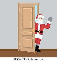 Santa in the door looking and shaking his hand