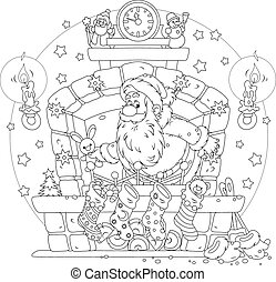 Santa in the fireplace - The night before Christmas, Santa ...