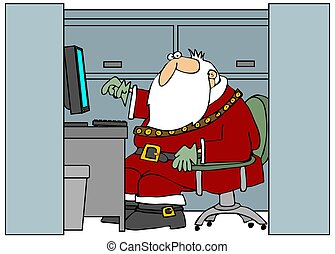 This illustration depicts Santa Claus sitting in an office cubicle.