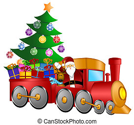 Santa in Train with Gifts and Christmas Tree - Santa Claus...