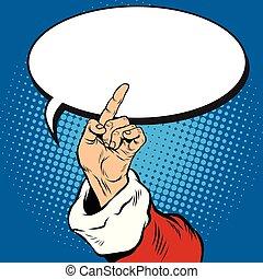 santa, indicateur, geste, claus, main, pop, retro, art