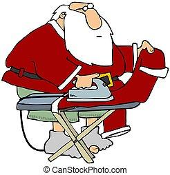 Santa Ironing His Pants - This illustration depicts Santa...