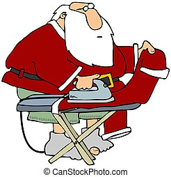 santa, ironing, seu, calças