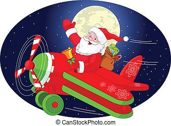 Santa is flying in an airplane