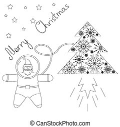 Santa is flying in space near his rocket tree. contour Plot.