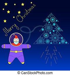 Santa is flying in space near his rocket tree