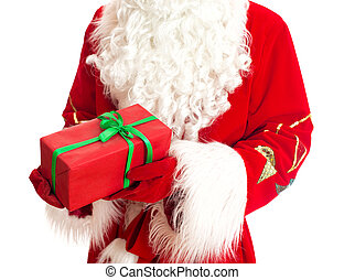 Santa is holding gift. Isolated on white.