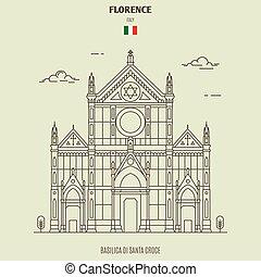 santa, italy., ランドマーク, バシリカ, croce, アイコン, ∥ディ∥, フィレンツェ