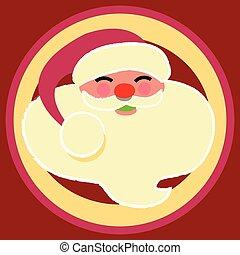Santa jolly face in a round circle design