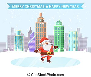 santa, joyeux, année, nouveau, noël, patinage sur glace, heureux