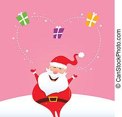 Santa juggling with christmas gifts