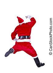 santa jumping with bellflower