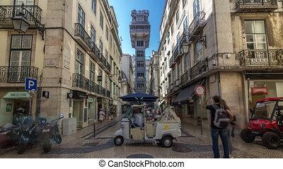 Santa Justa Elevator timelapse hyperlapse in Lisbon,...