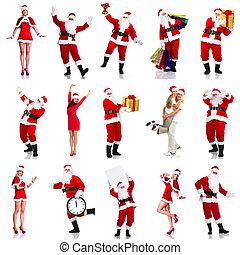 santa., kerstmis, vrolijke