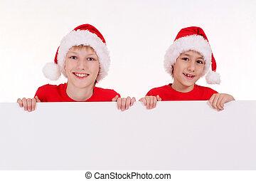 santa kids with board
