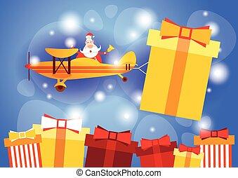 santa klausel, fliegendes, motorflugzeug, tragen, geschenk, kasten, frohes neues jahr, grüßen karte, feier, banner
