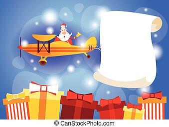 santa klausel, fliegendes, motorflugzeug, tragen, leerer , banner, kopieren platz, jahreswechsel, feier