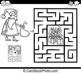 santa, laberinto, claus, juego, actividad