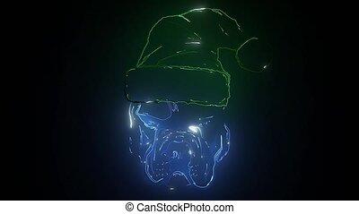 santa, laser, chapeau, claus, animation, chien