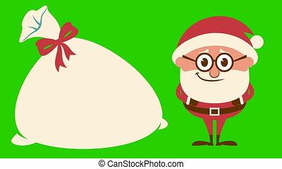 Santa Laughing on Green