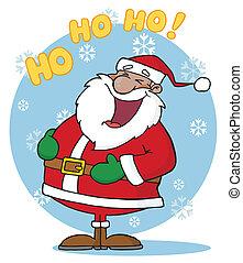 Santa Laughing With Ho Ho Ho Text