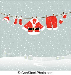 Christmas card design with Santa laundry