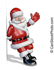 Santa is leaning against an edge or border and waving - 3D render