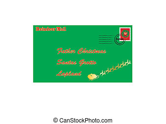 A Letter to Santa Claus decorated with Father Christmas and his sleigh and a Christmas stamp