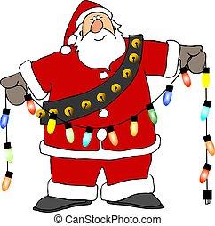 Santa lights - This illustration depicts Santa holding a...