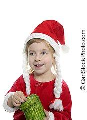 Santa little girl with green present box