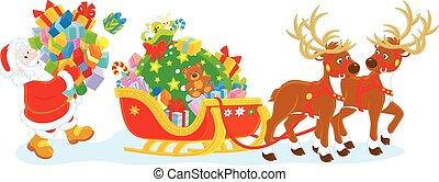 Santa loading gifts - Santa Claus carrying a pile of...