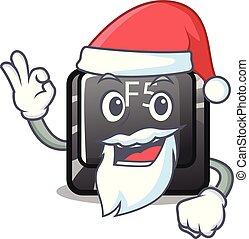 Santa longest F5 button on cartoon keyboard vector illustration