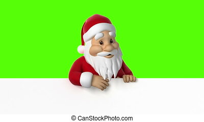Santa looks out of paper and waving on a green background,...