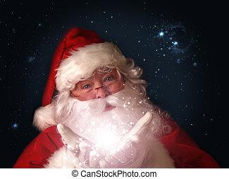 santa, mágico, luces, manos de valor en cartera, navidad