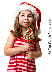 santa, m�dchen, weihnachten, hübsch, lutscher