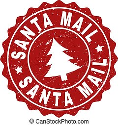 SANTA MAIL Scratched Stamp Seal with Fir-Tree