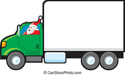 Santa Making a Delivery - Santa driving a delivery truck. ...