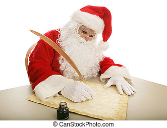 Santa Making His List - Santa sitting at his desk using a...