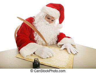 Santa Making His List - Santa sitting at his desk using a...