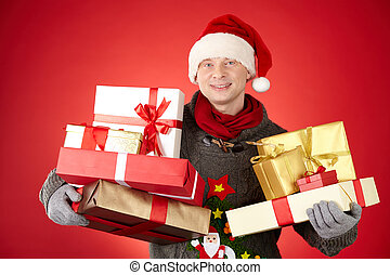 Santa man with giftboxes