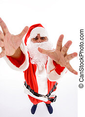 santa man with open palms